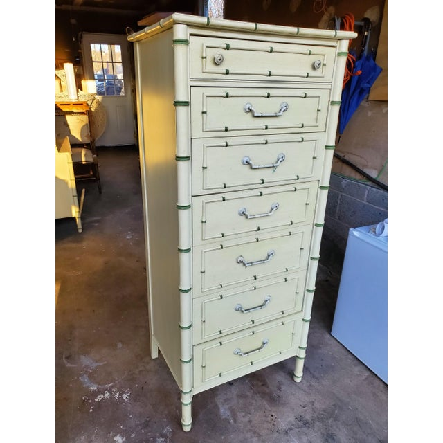 Boho Chic 1970's Boho Chic Thomasville Faux Bamboo Lingerie Chest For Sale - Image 3 of 10