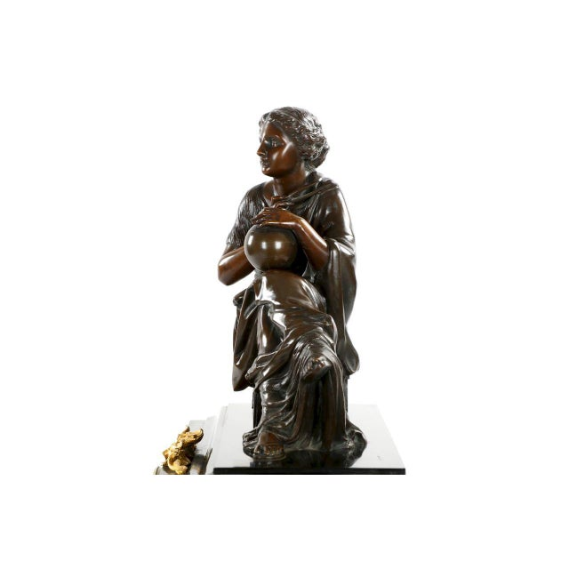 Traditional J.E. Caldwell Mantel Clock With Bronze Sculpture of a Cartographer - Image 10 of 10