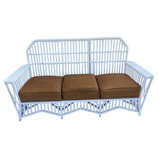 Art Deco Stick Wicker Rattan Sofa For Sale