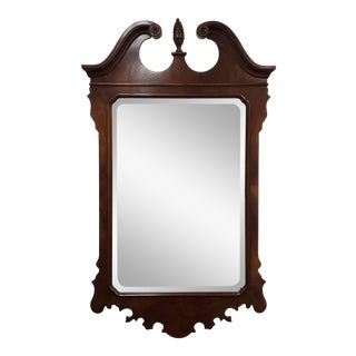 Drexel Heritage Heirlooms Mahogany Beveled Glass Chippendale Style Bedroom Mirror For Sale