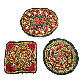 Colorful Vintage Woven Trivets - Set of 3 For Sale