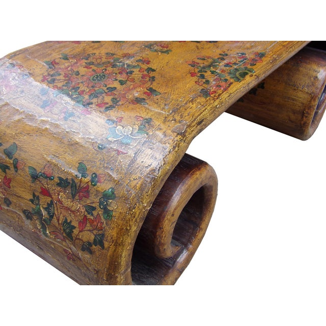 Yellow Tibetan Graphic Wood Scroll Coffee Table For Sale - Image 5 of 6