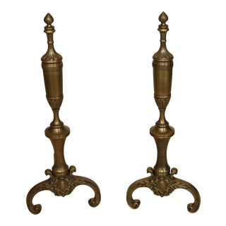 Decorative Crafts Grecian Style Solid Brass Andirons - a Pair For Sale