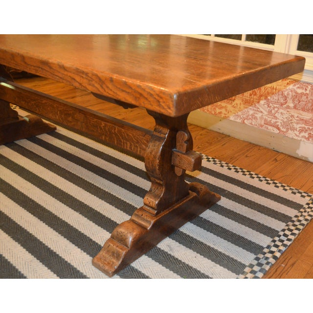 French Country Trestle Farm Table For Sale - Image 9 of 10
