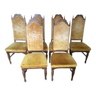 Mid-Century Golden Velvet Upholstered Dining Chairs - Set of 6