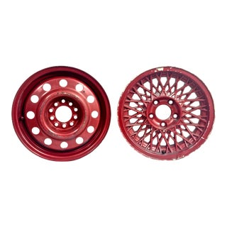 Repurposed Red Metal Rims, Set of Two For Sale