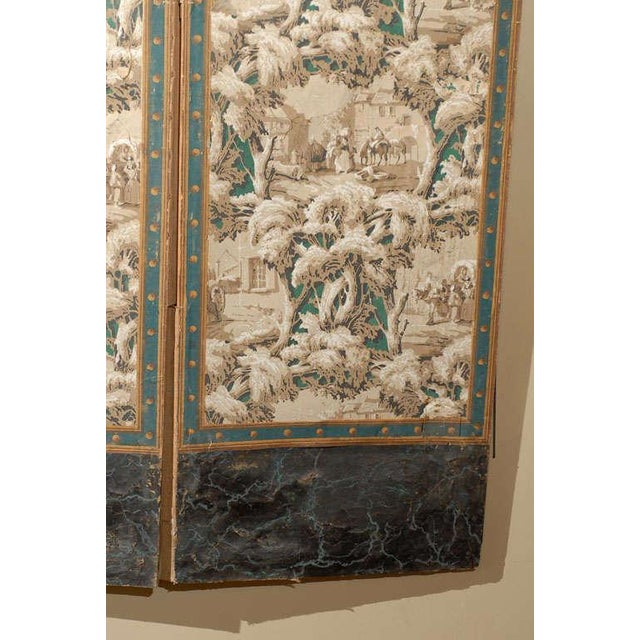 French 19th Century Zuber Style Four-Panel Paper on Canvas Screen For Sale - Image 9 of 11