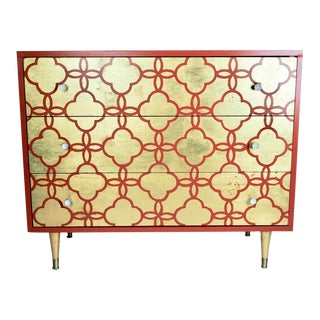 Mid-Century Gold & Orange Dresser For Sale
