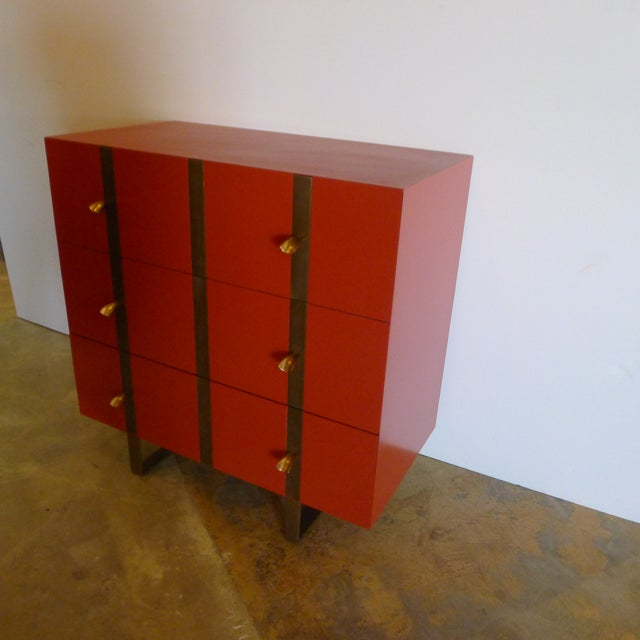 Contemporary Paul Marra 3-Drawer Banded Chest For Sale - Image 3 of 7