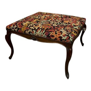 French Stool With Moulded Frame With Foliante Carvings at Center For Sale