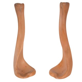"Pair of Modernist Terracotta ""Bone"" Candlesticks by Elsa Peretti for Tiffany For Sale"