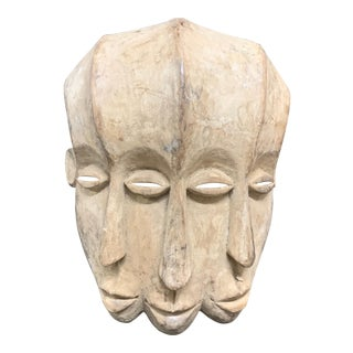 African Art Triple Face Bacongo Mask For Sale