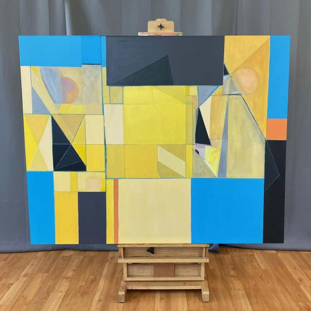 """Abstract Robert English """"Etheric Double"""", Large Abstract Cubist Painting, 1994-1995 For Sale - Image 3 of 13"""