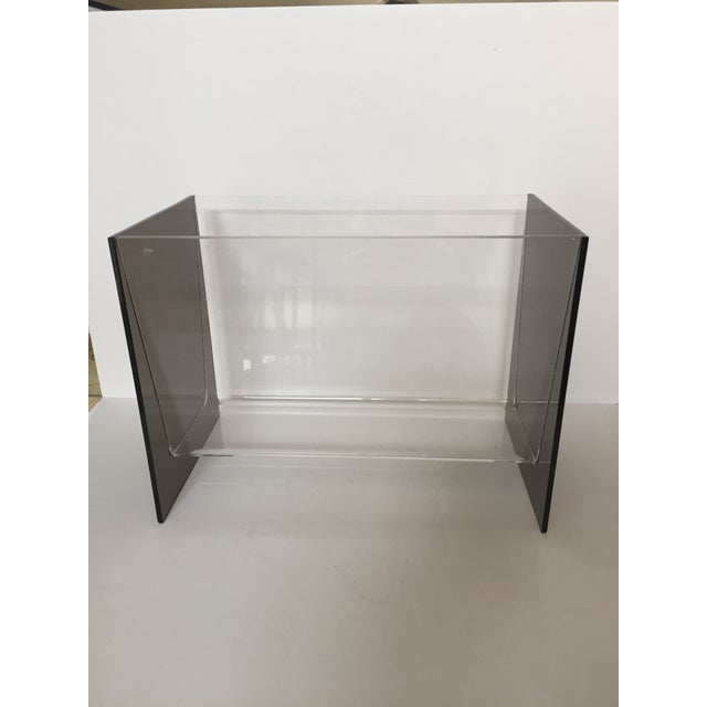 Clear & Smoky Grey Lucite Magazine Holder - Image 2 of 8
