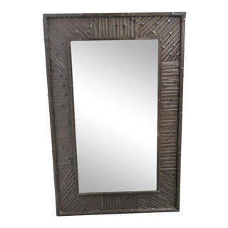Mid Century Style Painted Bamboo Mirror For Sale