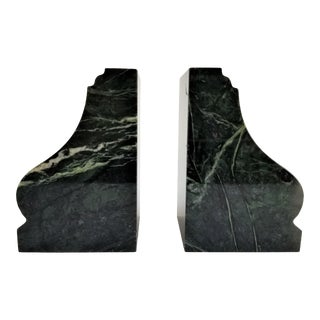 Vintage Classic Solid Marble Jade Green Bookends - A Pair For Sale