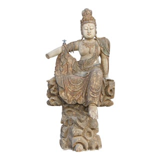 18th Century Large Carved Guanyin Statue For Sale
