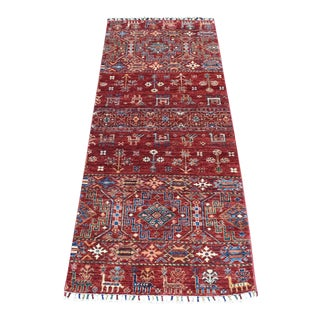 Khorjin Design Runner Red Kazak Pictorial Hand Knotted 100% Wool For Sale