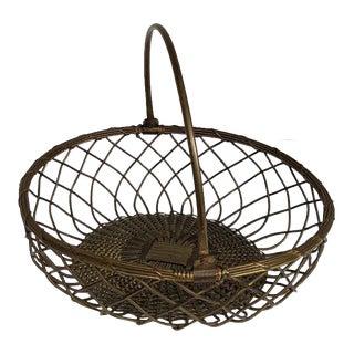 Vintage Brass Basket With Handle For Sale