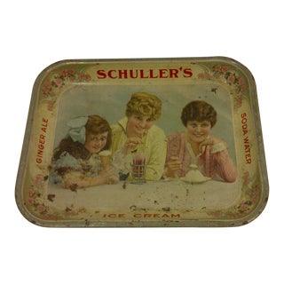 1915 Antique Schuller's Beverage Serving Tray
