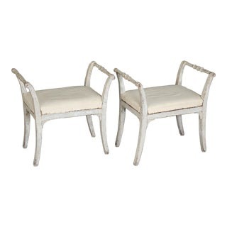 Pair of Swedish Gustavian Stools For Sale