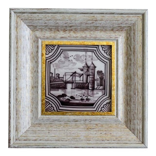 19th Century Dutch Delft Framed Tile