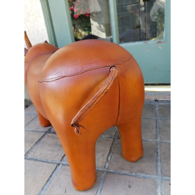 Large Leather Animal Rhino Footstool - Image 4 of 5