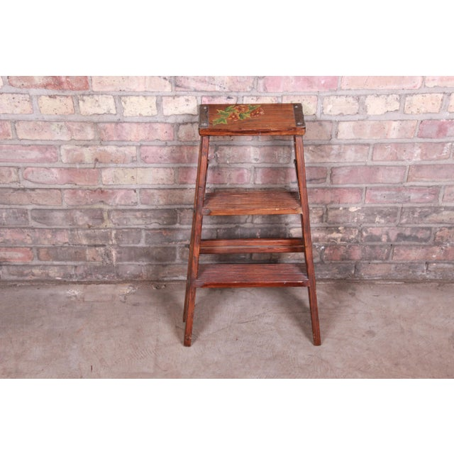 Brown Vintage Hand-Painted Wooden Step Ladder For Sale - Image 8 of 10