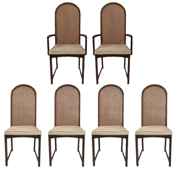 Set of Six Milo Baughman High Back Cane and Walnut Dining Chairs for Directional For Sale