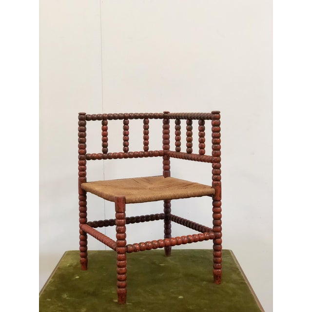 1940s Vintage French Turned Wood Corner Chair For Sale - Image 10 of 10