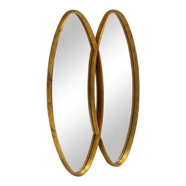 Dual Interlocking Oval Gold Frame Mirror For Sale