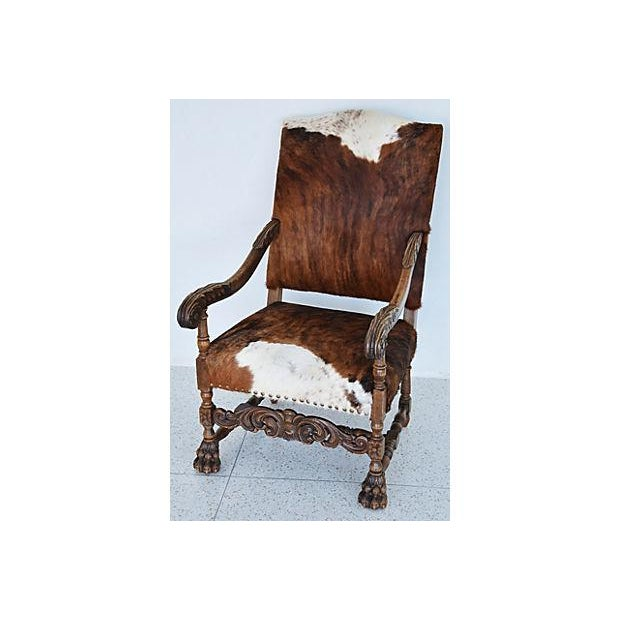 Antique Carved Oak & Cowhide Throne Armchair - Image 10 of 12
