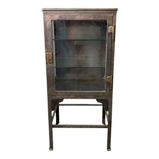 1920s Industrial Brushed Steel Apothecary Cabinet Display Case For Sale