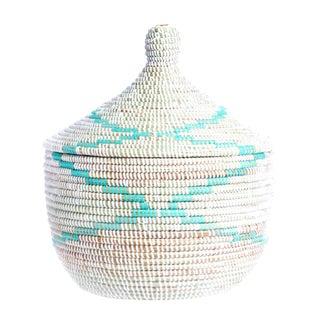 Lidded Aqua & White Handmade African Woven LaJolla Senegalese Basket For Sale