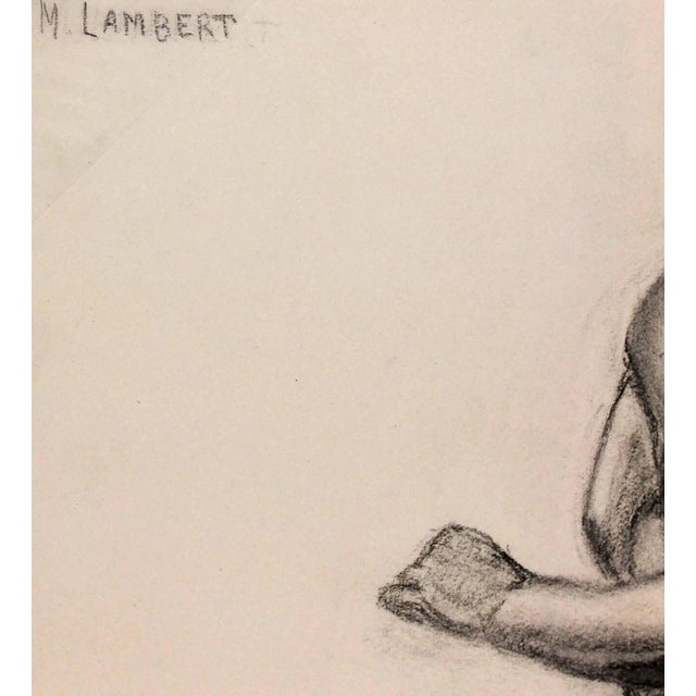 Pencil drawing of view of nude male statue with bronze casting to leg by French artist M. Lambert, circa 1930. Signed...