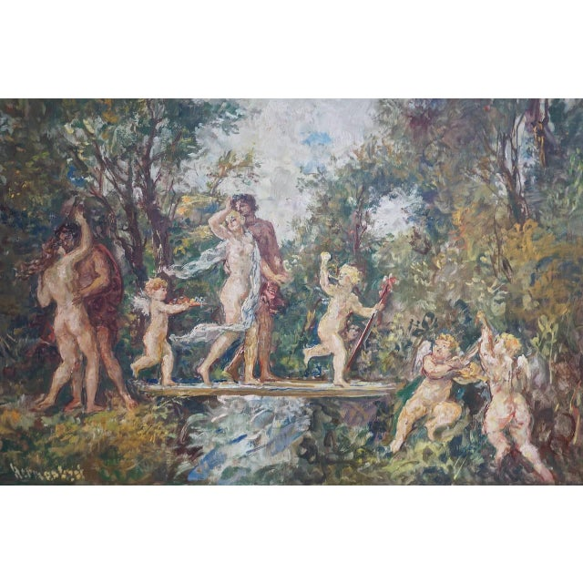 "Gold ""The Garden"" Oil on Canvas: Herman Lipot, Hungary, 20th Century For Sale - Image 8 of 10"
