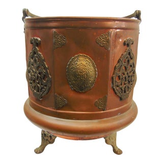 Arts & Crafts Copper & Brass Ash Bucket For Sale