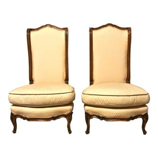 Vintage Mid Century Louis XV-Style High Back Slipper Chairs- A Pair For Sale
