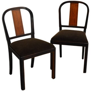 Pair of Carl Malmsten Swedish Grace Inlaid Side Chairs For Sale
