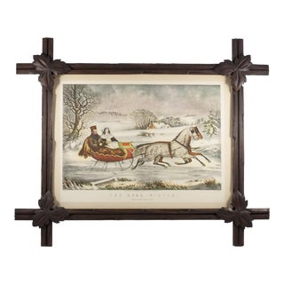 Black Forest Style Frame With Vintage Horse and Sleigh Print