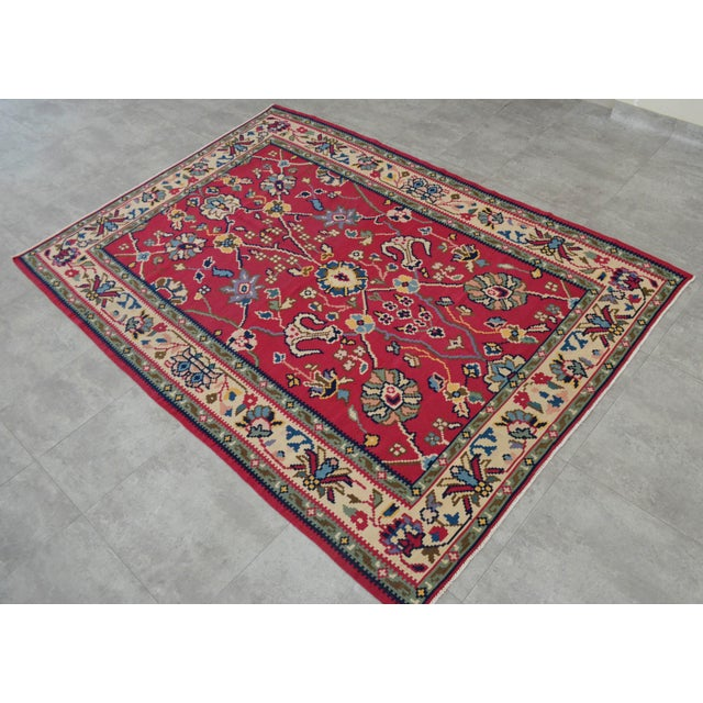 Vintage Hand Woven Wool Floral Kilim - 5′2″ × 7′6″ For Sale - Image 4 of 8