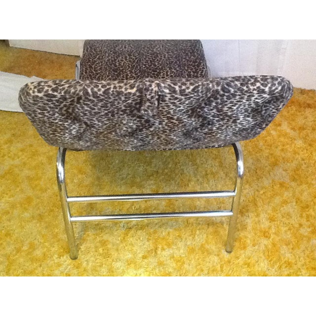 Mid-Century Modern Leopard Upholstered Wave/Chaise Lounge For Sale - Image 3 of 8
