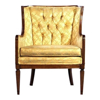 Mid-Century Yellow Tufted Armchair For Sale