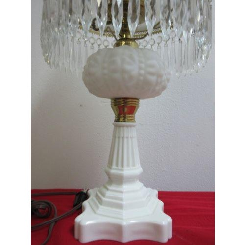 Antique Art Deco Milk Glass Hurricane Table Lamp - Image 5 of 7