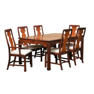 Bassett Furniture Company Ming Style Dining Table & 6 Chairs For Sale