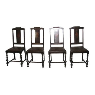 1930s High Back Dining Chairs - Set of 4
