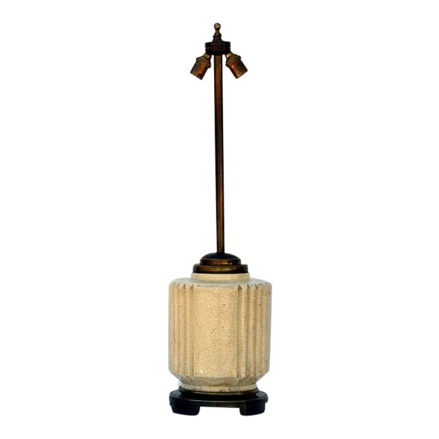 1930s Art Deco Robert T. Lallemant Crackled Cream Ceramic Lamp For Sale