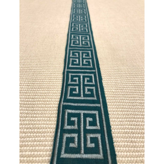 """Modern Braemore Peacock Blue Greek Key 1.75"""" Band Fabric Trim - 30 Yards For Sale - Image 4 of 4"""