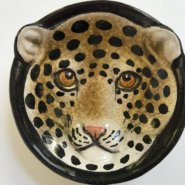 Italian Mid-Century Modern Leopard Pottery Bowl/Catchall For Sale - Image 9 of 10