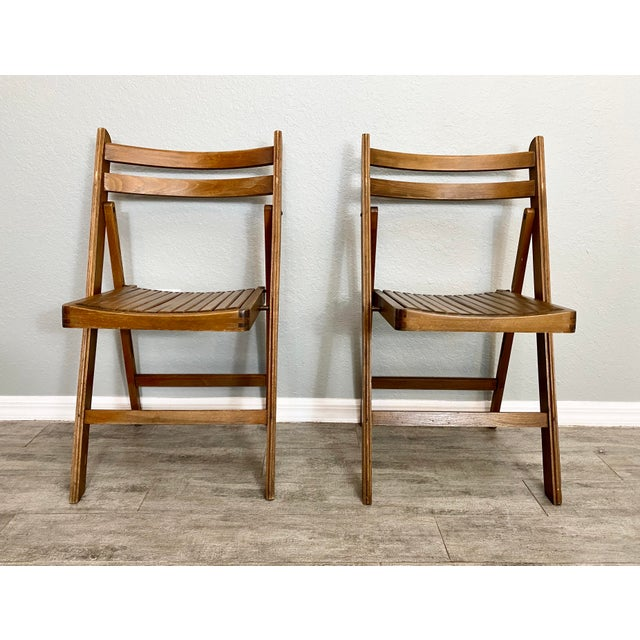 Mid Century Modern Slat Back Folding Chairs - a Pair For Sale - Image 9 of 9